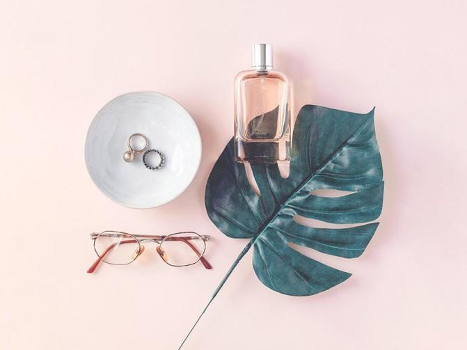 Glasses, Rings, Perfume Essentials
